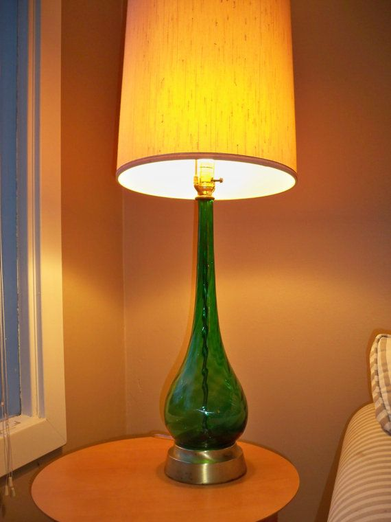 mid century italian glass tall table lamp emerald green empoli glass