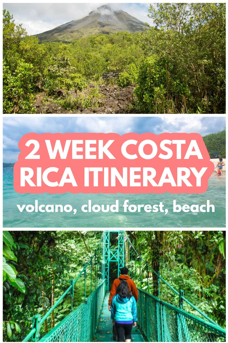 The ultimate Costa Rica itinerary to see the volcano, cloud forest, rain forest and beach: http://mytanfeet.com/costa-rica-travel-tips/2-week-costa-rica-itinerary/