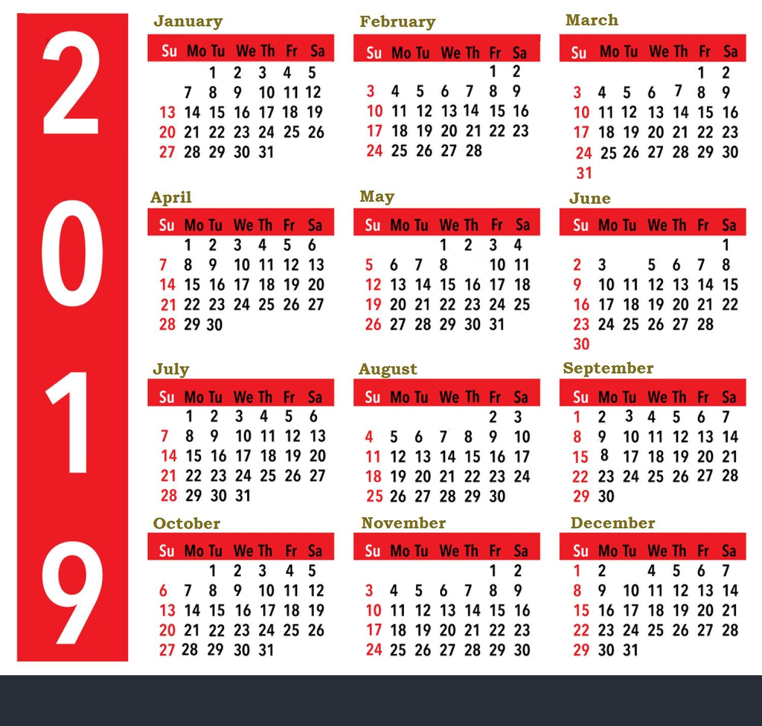 2019 Calendar Dates 2019 Calendar for United States Holidays All Important Dates and
