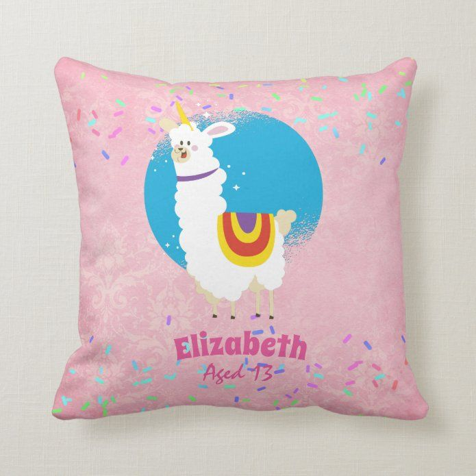 Sprinkles Llama Unicorn Girls Cute Named Gifts Fun Throw Pillow