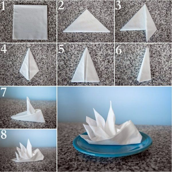 Paper napkin folding instructions create festive Tischedeko