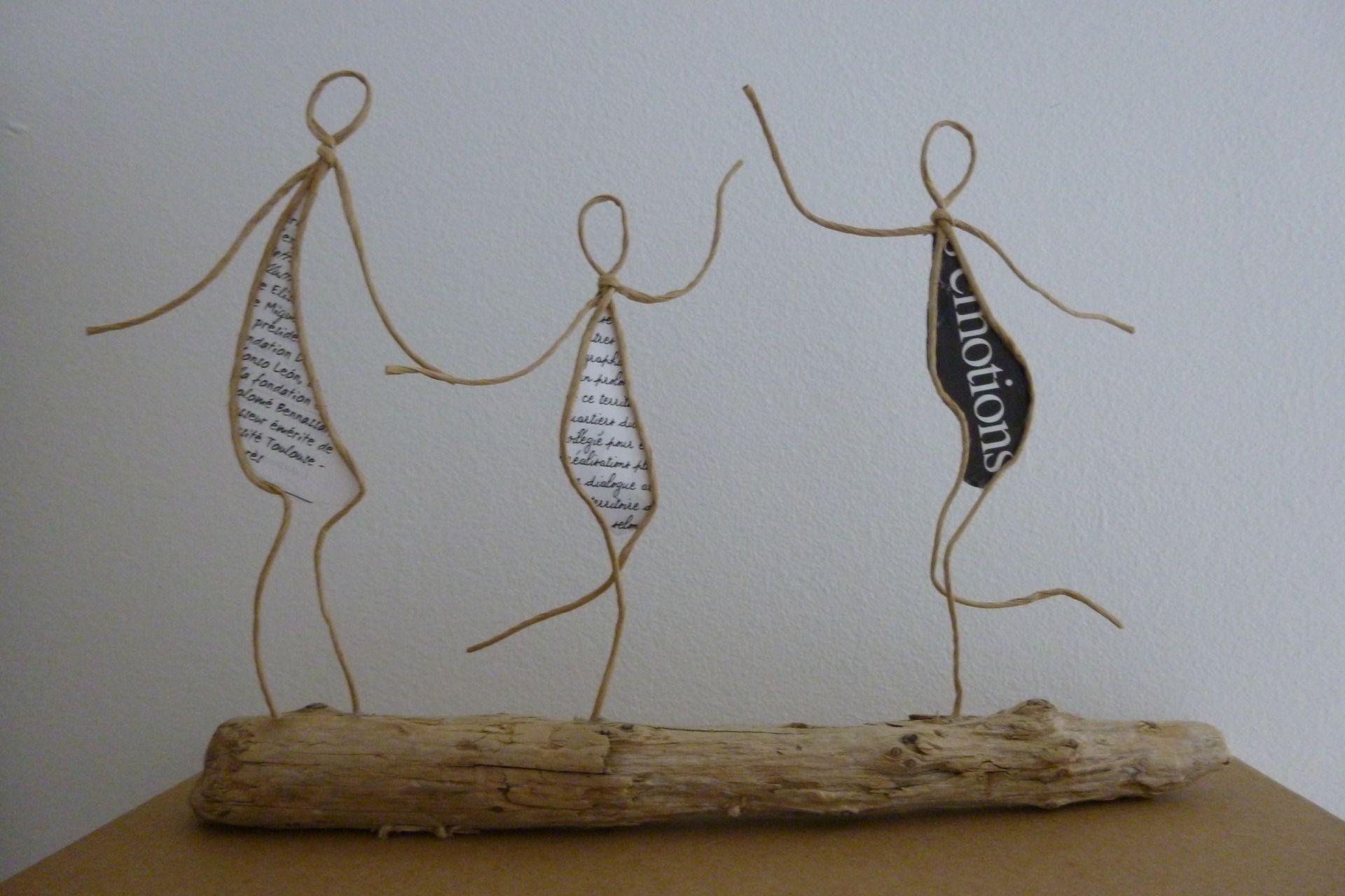 Les retrouvailles - figurines en ficelle et papier