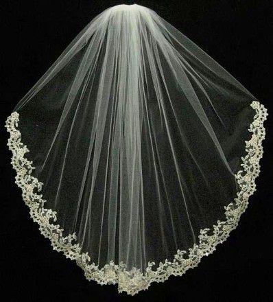 Ansonia Bridal Ivory Ansonia Wedding Veil With Lace Edge