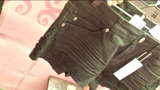 Black lace around the hem
