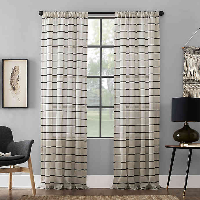 Clean Window Twill Stripe Anti Dust Rod Pocket Curtain Panel In 2020 Window Cleaner Panel Curtains Rod Pocket Curtain Panels