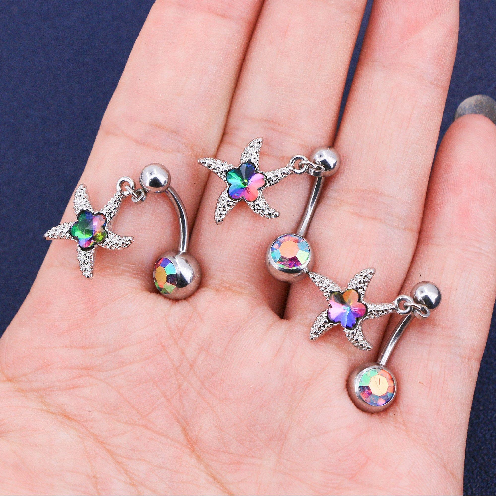 Purple CZ Vine Dangling Belly Ring Body Jewellery