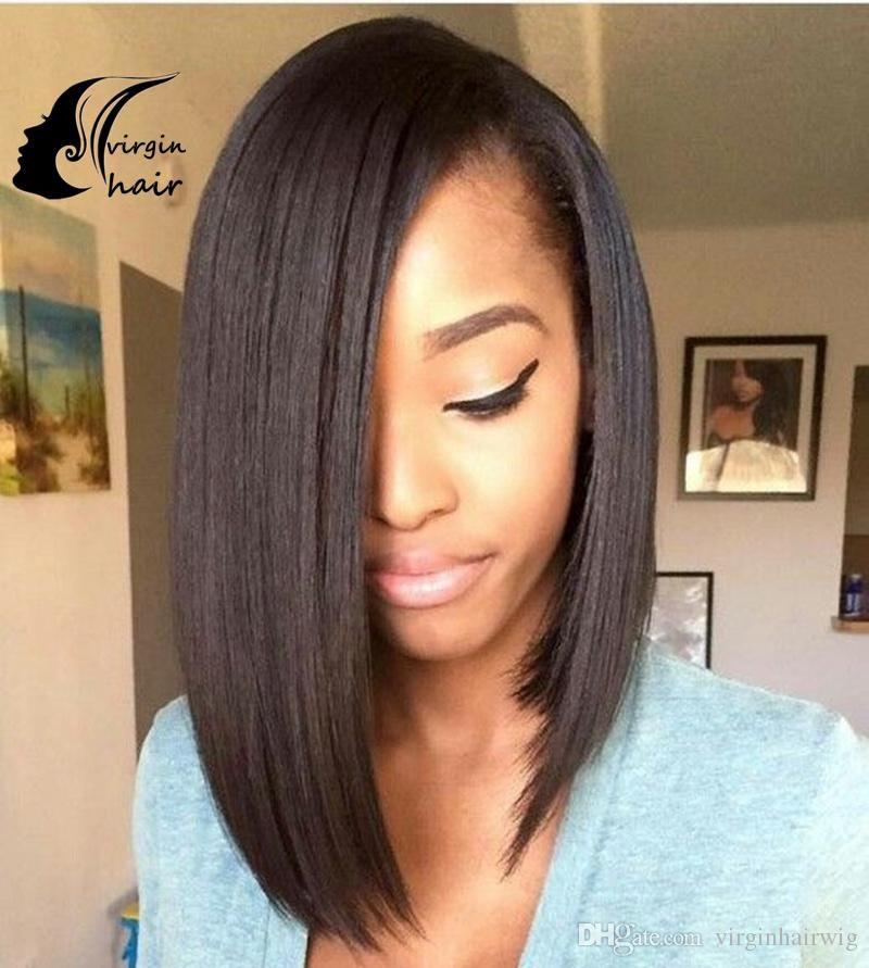 Glueless Full Lace Wig Silk Straight Short Bob Style Full Lace Human Hair Wigs Brazilian Lace Front Human Hair Wigs F Natural Hair Styles Hair Long Hair Styles