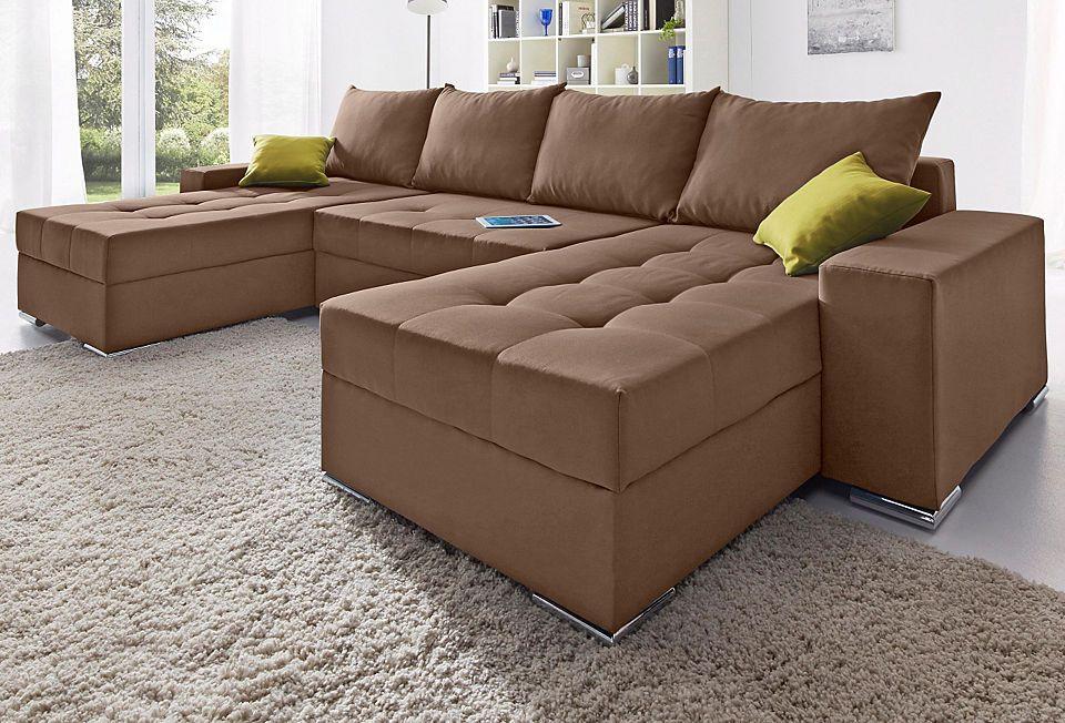 Collection AB Wohnlandschaft mit Bettfunktion und Federkern Jetzt - Wohnzimmer Braunes Sofa
