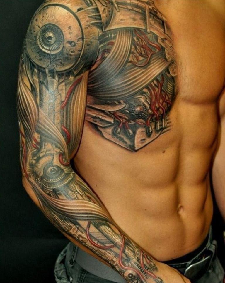 Black Guy With Colored Tattoos Cyborg Tattoo Mechanic Tattoo Hyper Realistic Tattoo