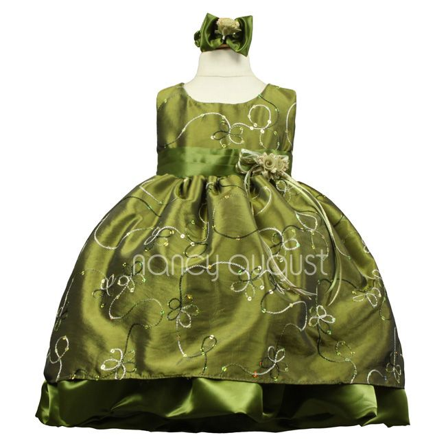 Olive Baby Dress With Festive Ribbon This Rich Olive Green Baby