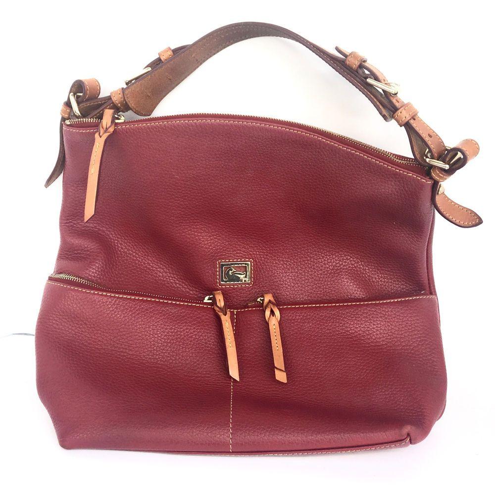 Dooney & Bourke Red Burgundy Leather Shoulder Hobo Satchel Bag Purse #DooneyBourke #ShoulderBag