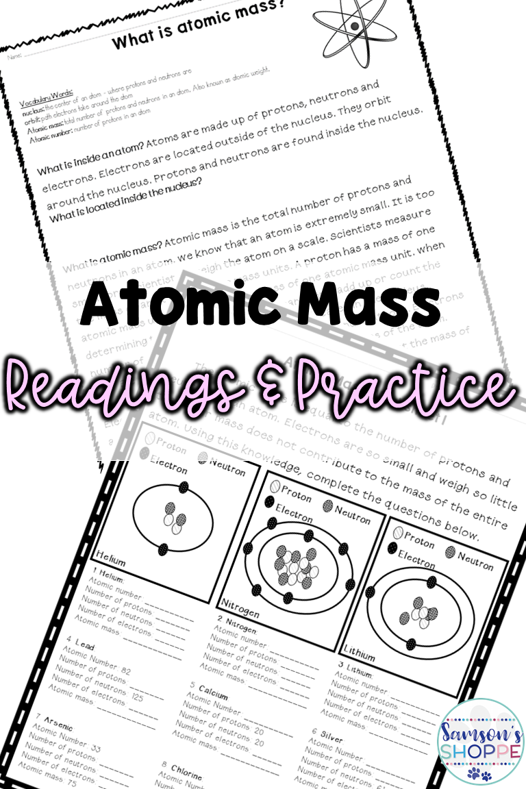 Atomic Mass Reading and Practice Activity Teaching