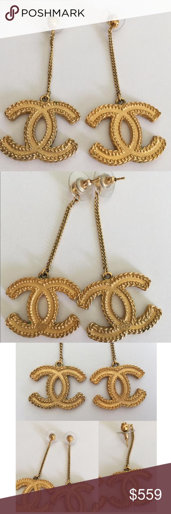 Chanel Cc Drop Earrings Gold Authentic Dangle In Matte Please Note
