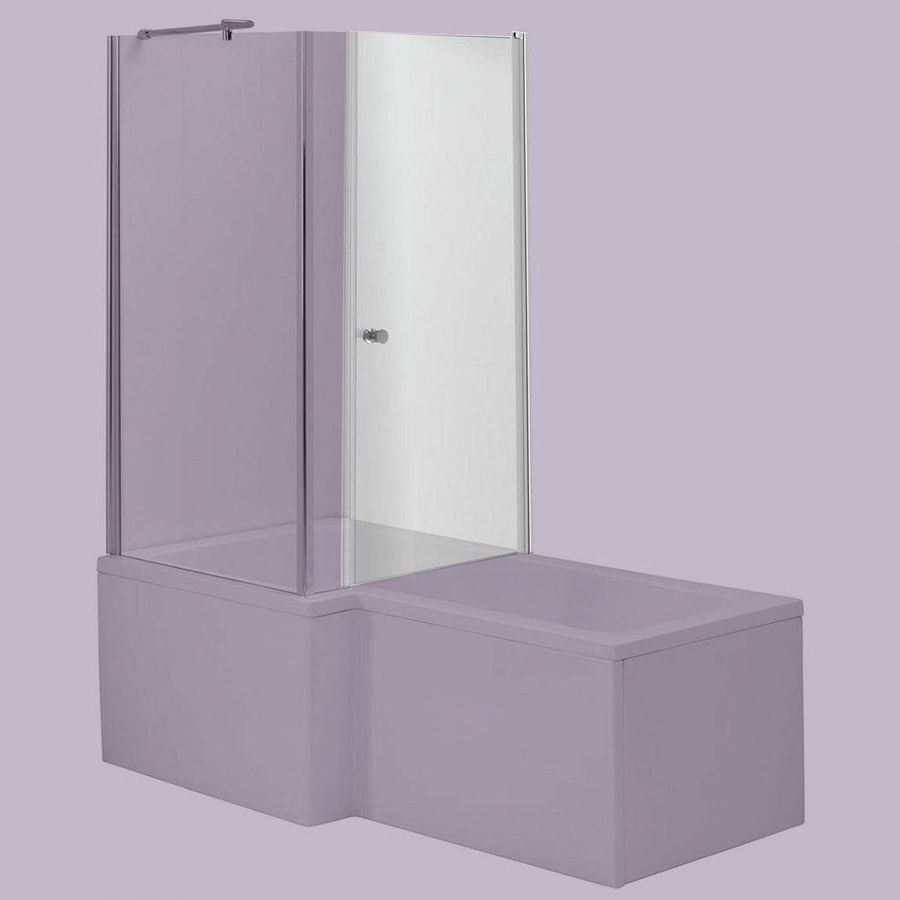 6mm over bath shower enclosure door for use with L shaped