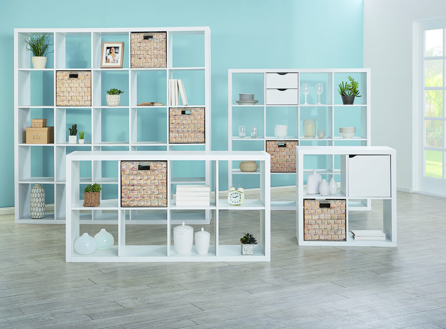 The Matrix Storage Shelves In White And Cancun Baskets In Whitewash Create  A Fresh Look For