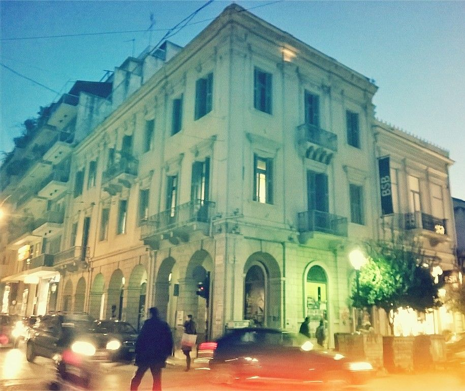 neoclassical buildings in patra  with filter effect 1960