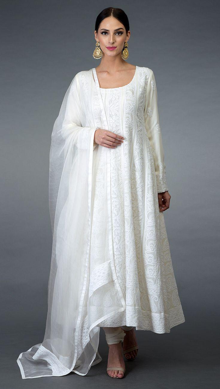 Weißer Anarkali   Kleider, Abendkleid, Traumkleider