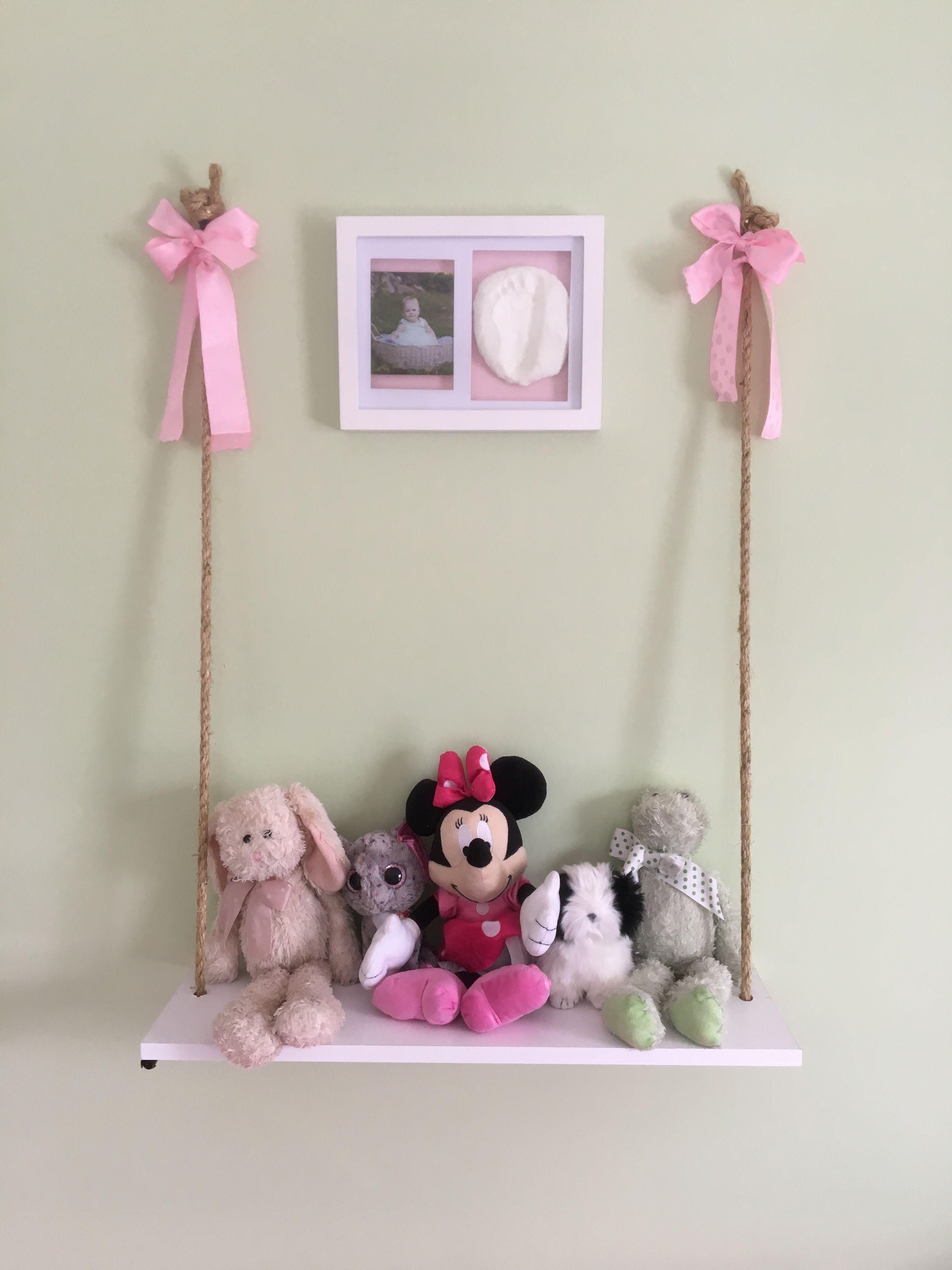 plain white shelf turned into stuffed animal swing nursery rh pinterest com stuffed animal display shelves MLP Stuffed Animal Net