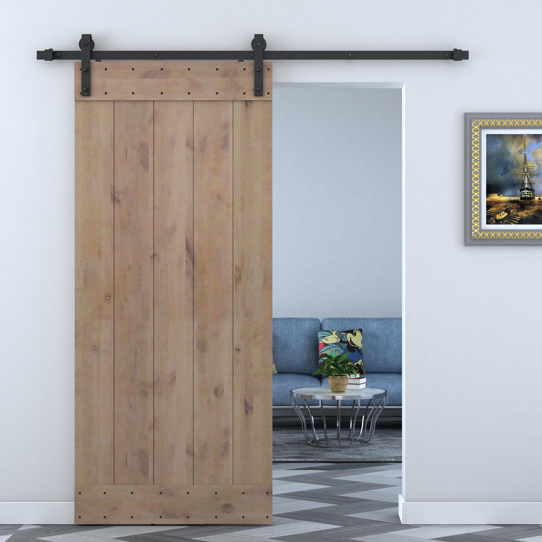 Paneled Wood Primed Alder Barn Door Without Installation Hardware Kit With Images Wood Doors Interior Barn Door Hardware Barn Doors Sliding