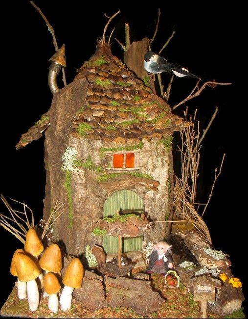 Tutoriel pour fabriquer une cabane miniature f e jardin de maison f erique miniature et - Fabrication maison en carton ...