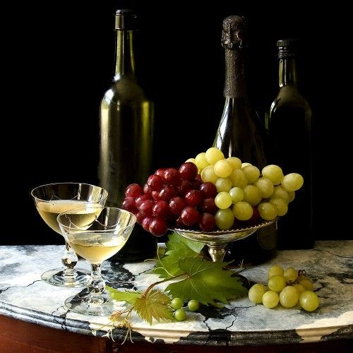 Honorable Mention Fall Juried Show Part 2 (2013). Still Life with Wine and Grapes by Paul Osborn.