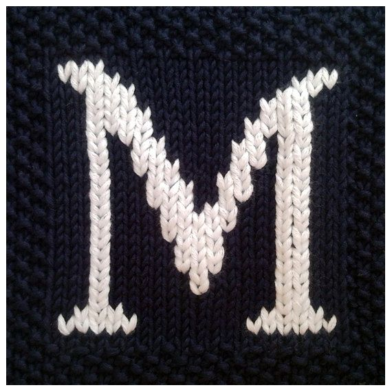 Knitting Pattern Block Letters : PDF Knitting pattern capital letter M afghan / by ...