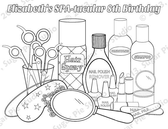 Personalized Printable Spa Party Favor Childrens Kids Coloring Etsy Coloring Pages Coloring Pages For Kids Barbie Coloring Pages