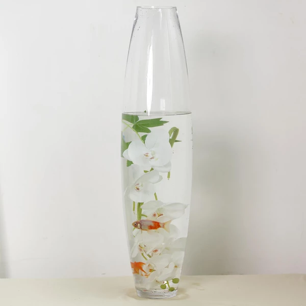 31 Tall Tapered Cylinder Glass Vase Clear Floor Vase