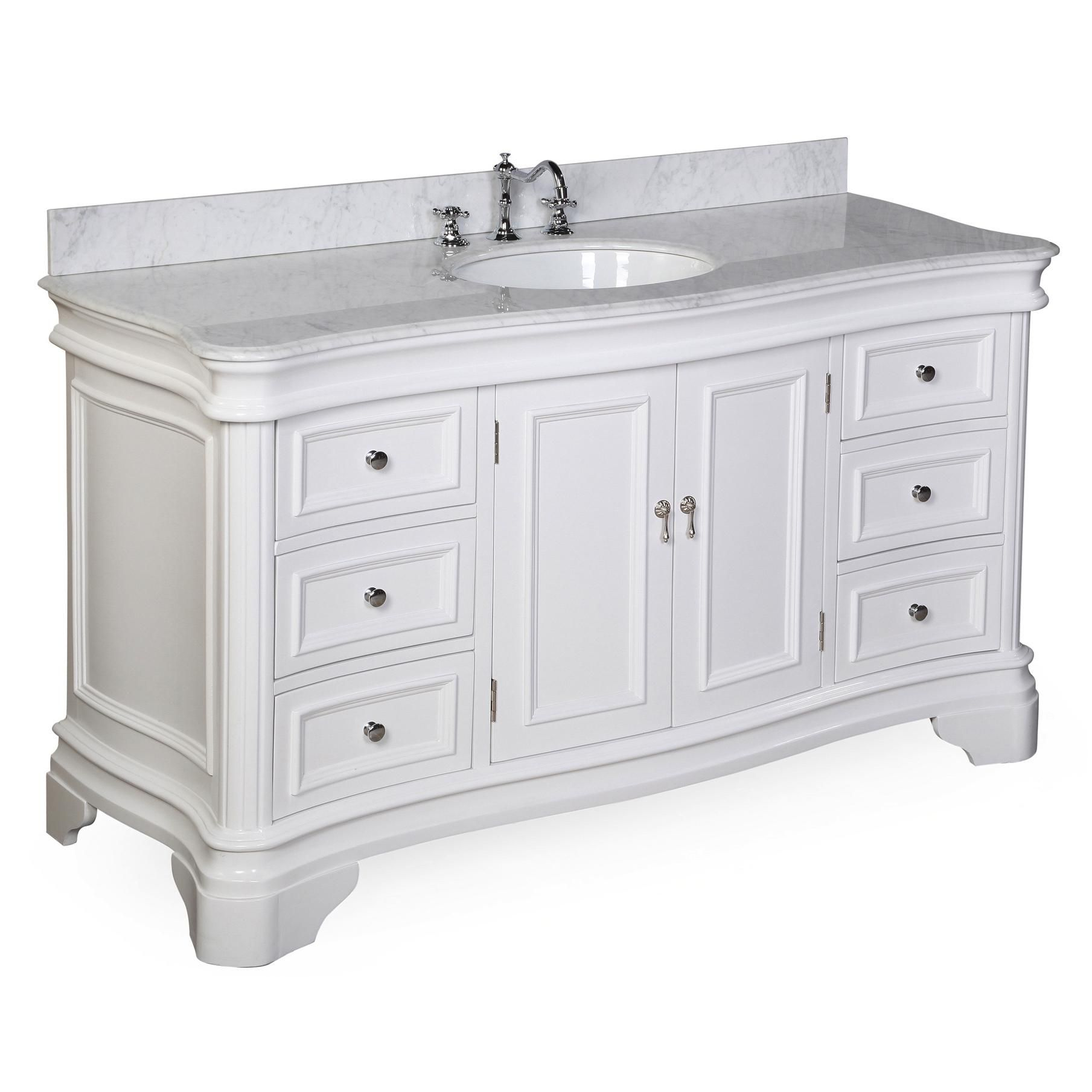 Katherine 60 Inch Single Vanity Carrara Marble Single Bathroom