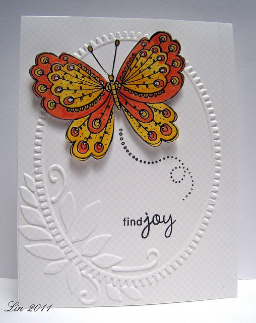 like the pop of color on white card