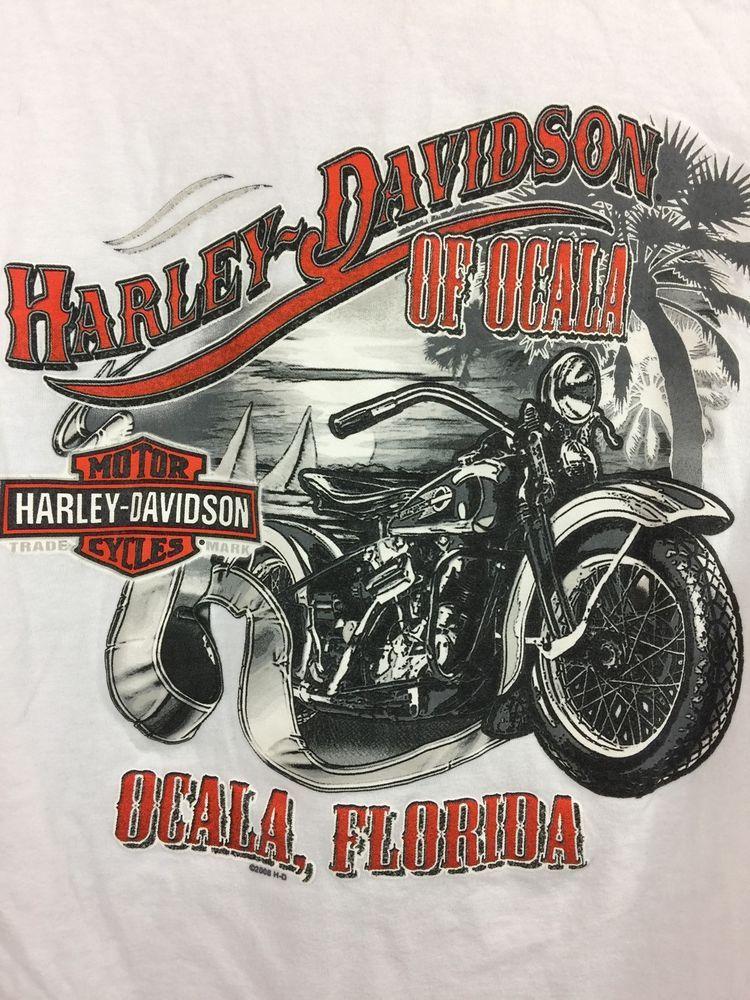 Harley Davidson T Shirt Size Large Ocala Florida White Cotton ...