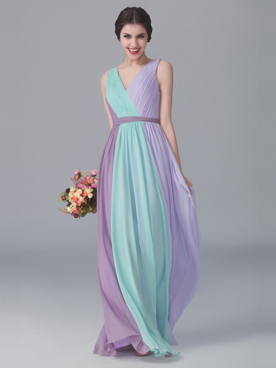 Tri-tone V Neck Dress; Color: Mint Green; Color: Pastel Lilac; Color ...