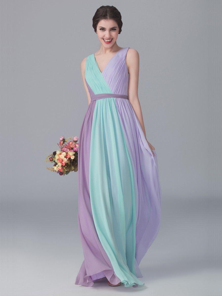 Tri tone v neck dress color mint green color pastel lilac tri tone v neck dress color mint green color pastel lilac ombrellifo Choice Image