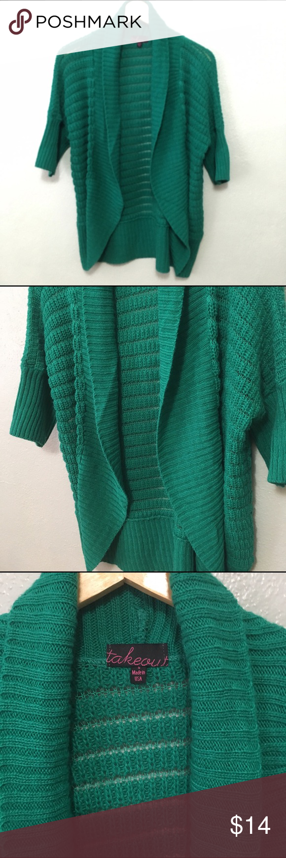 Takeout Aqua Green Cardigan Beautiful and colorful cardigan sweater size small. Item is in excellent condition with no rips, stains, or flaws! Please check out my other listings as I do offer a bundle discount, I love offers! Takeout Sweaters Cardigans