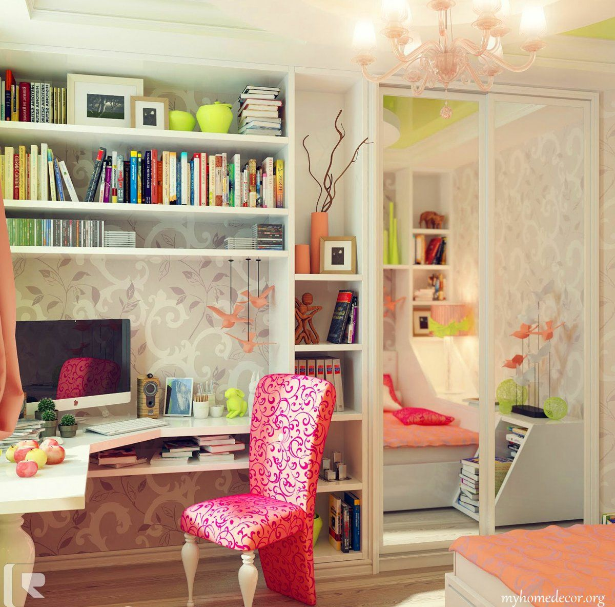 Kids Bedroom with Captivating White Wardrobe Featured Fancy Mirror ...