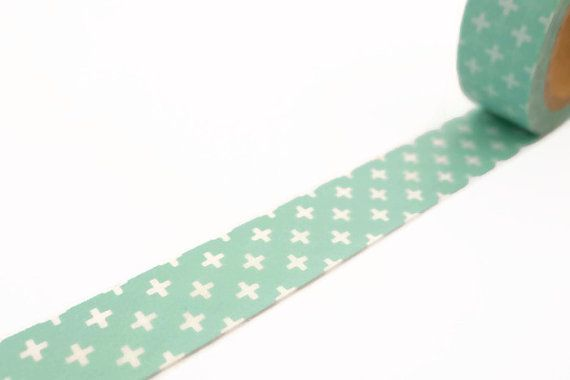 10m roll of minty green washi tape with a gorgeous cross pattern.  Washi tape is a transparent decorative masking tape. Super versatile it's easy to