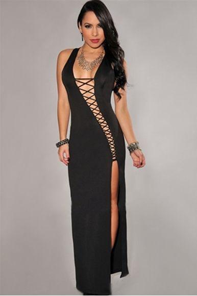 Boydan Dekolteli Yırtmaçlı Likralı Elbise En Güzel Abiye Kıyafetler Seven  til Midnight Markası SeksiGiyim.Com Farkıyla 51229ee77444
