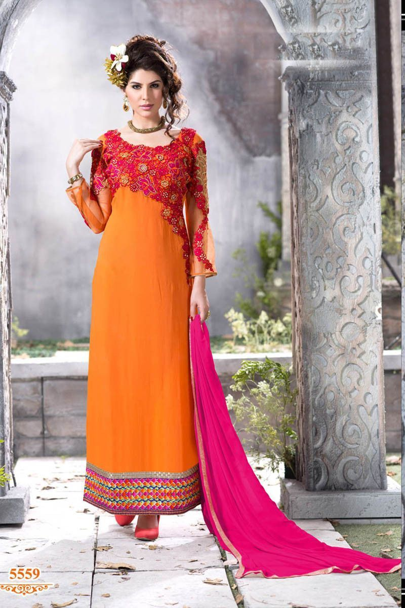 Orange Georgette Heavy Embroidered Ankle Length Semi Stitched Dress