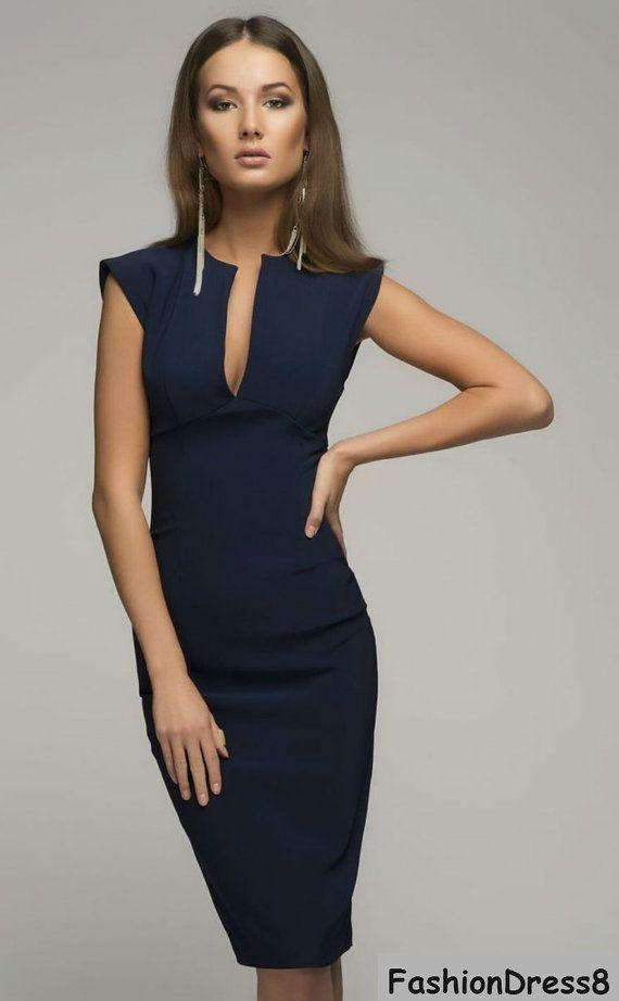 Victoria Beckham-Dark Blue Dress,Elegant Pencil Dress | Sleeve ...
