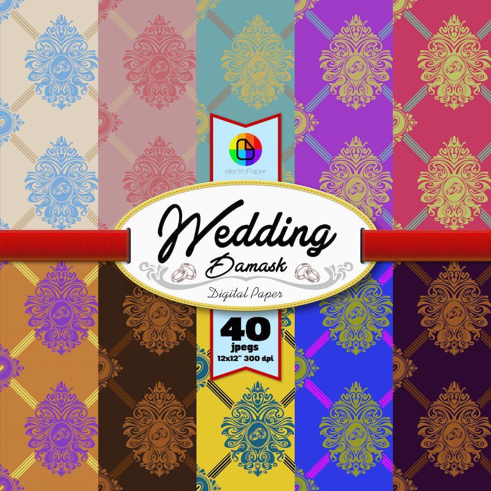 Wedding Damask - 40 Digital Paper for Scrapbooking and more de ElectroPaper en Etsy