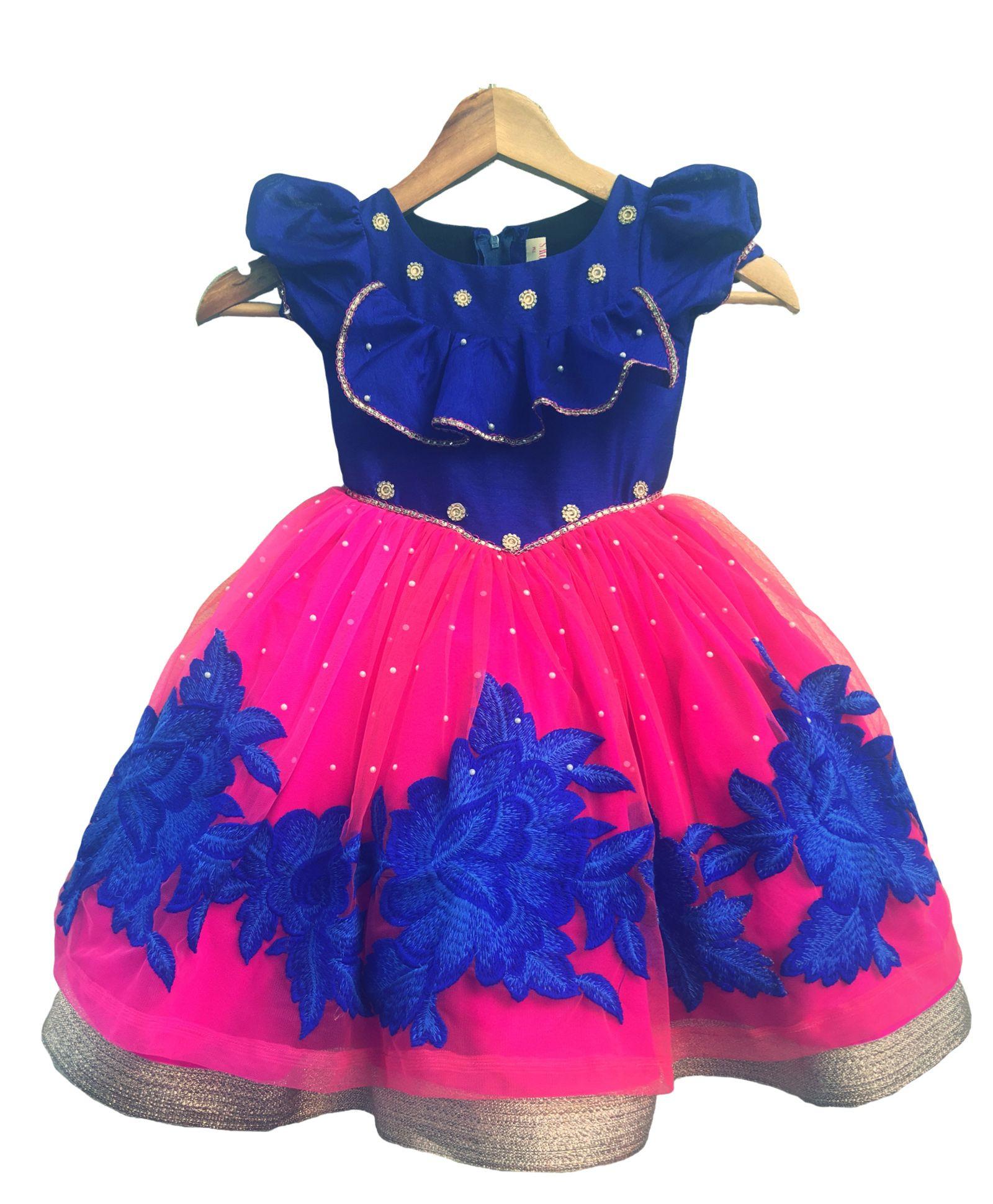 3e8c932fb1e Buy Flutterbows Designer Mishka Gown Blue for Girls (5-6 Years ...