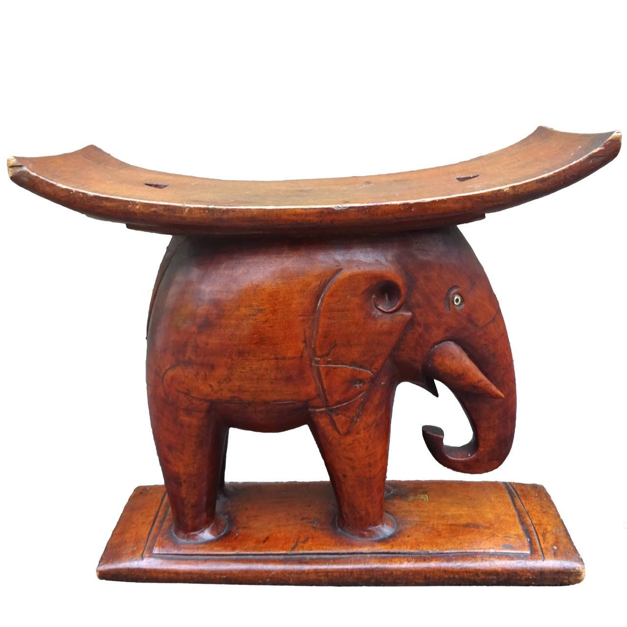 Fabulous 1920s African Carved Mahogany Elephant Stool From A