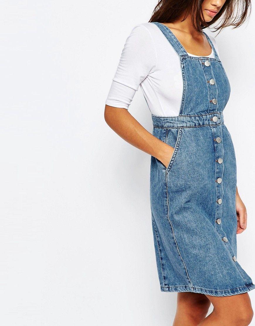 Image new look robe chasuble boutonnée en jean jean