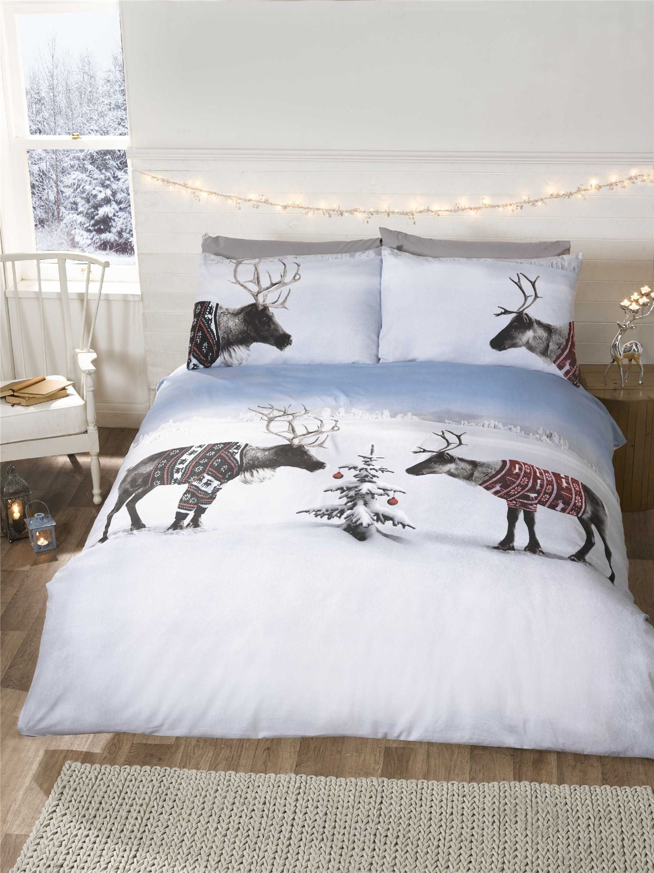 Reindeer Christmas Double Quilt Duvet Cover 2 Pillowcase Bedding