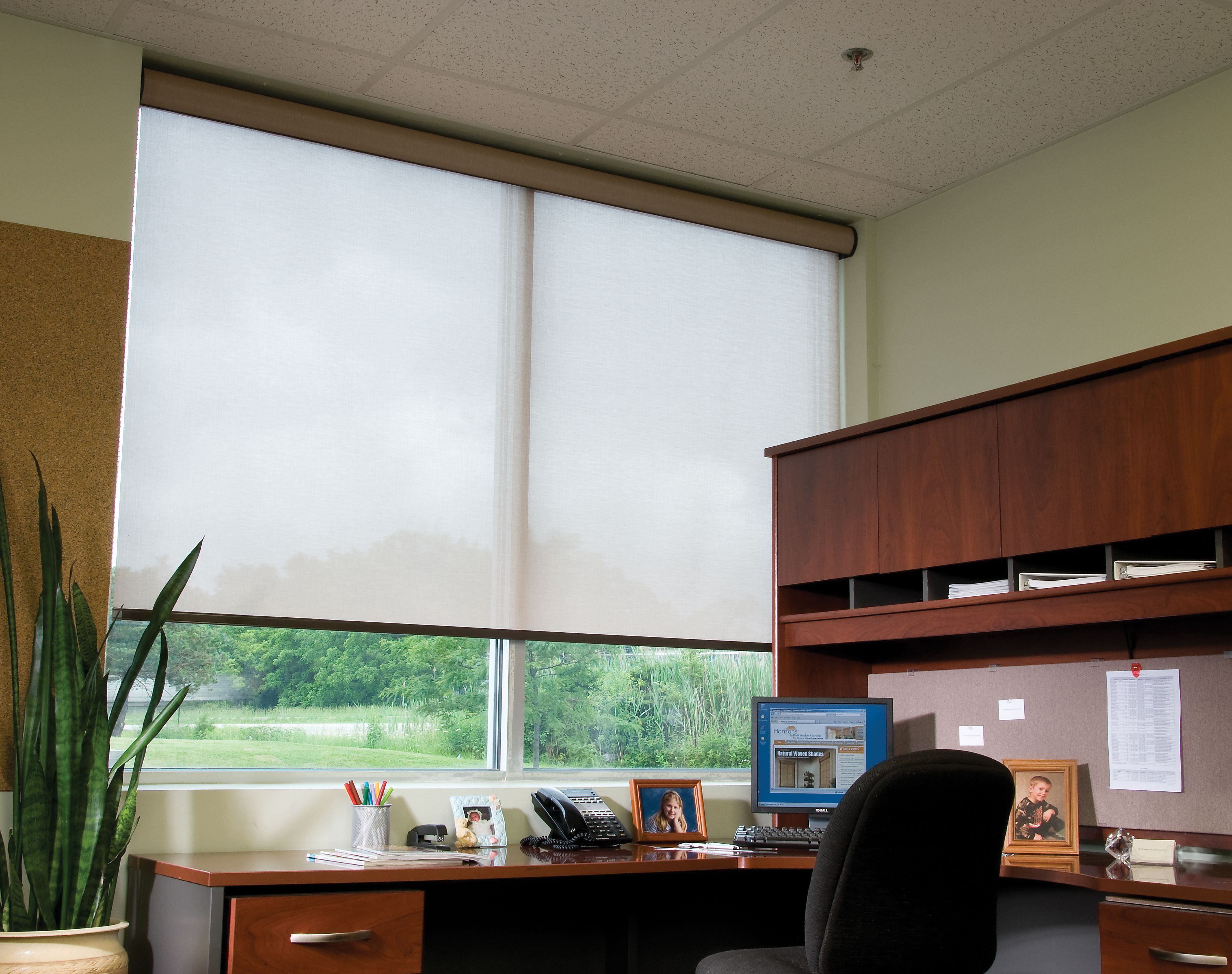 Delightful Home Office With Beautiful View And Large Windows. Motorized White Roller  Shades With Cassette Valance Make The Perfect Solution For Floor To Ceiling  ...