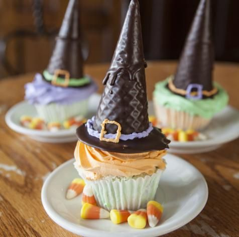 """Pumpkin ice cream cupcakes and pumpkin """"witch hats"""""""