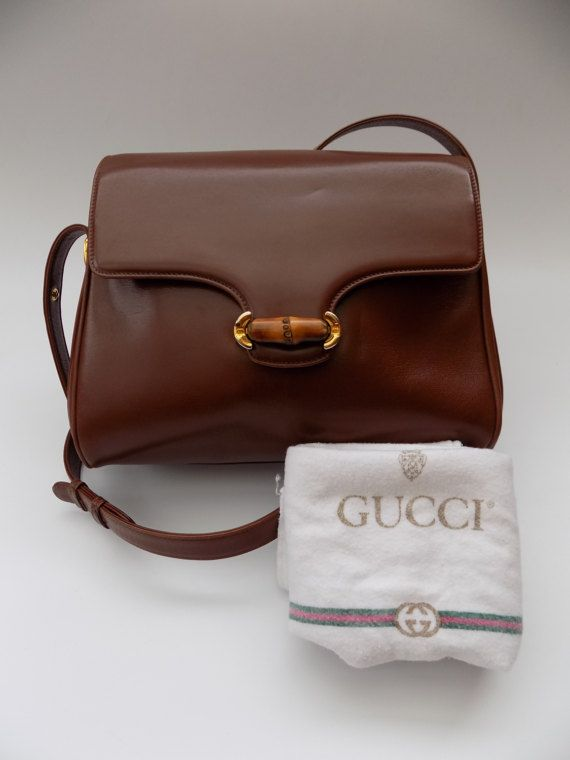 Your Place To Buy And Sell All Things Handmade Gucci Vintage Bag Brown Leather Shoulder Bag Vintage Designer Bags