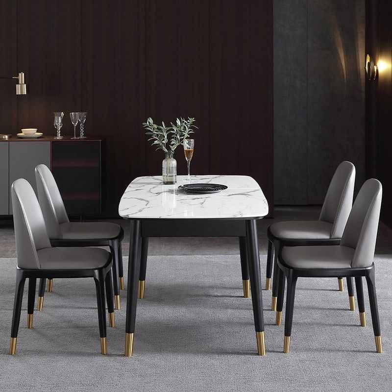 Rectangular Extendable Faux Marble Dining Table With Marble Veneer Top Modern Dining Table 55 Dining Table Marble Marble Top Dining Table Modern Dining Table