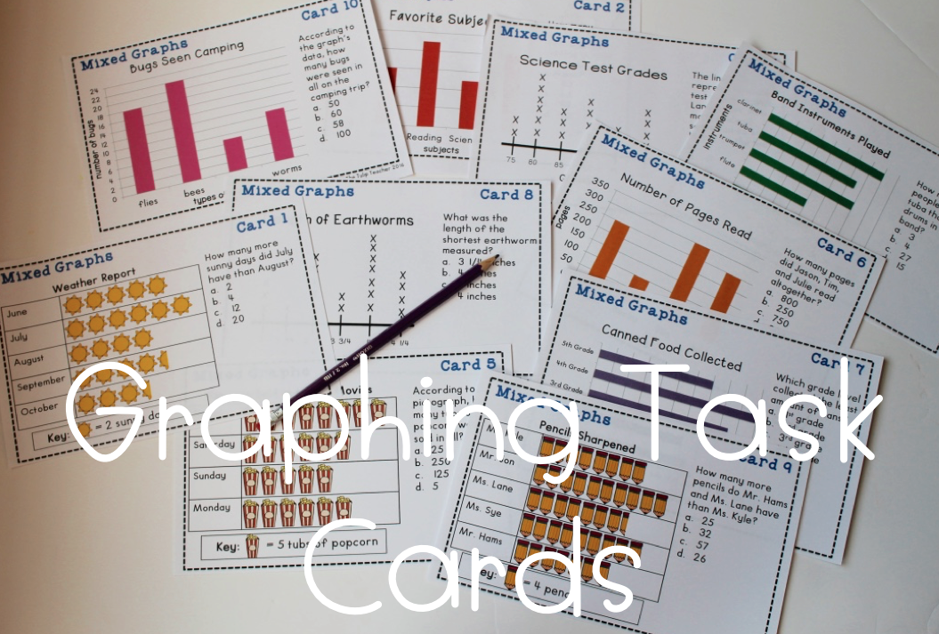 Graph task cards bar graphs pictographs and line plots bar graph task cards covering pictographs line plots and horizontal and vertical bard graphs ccuart Choice Image