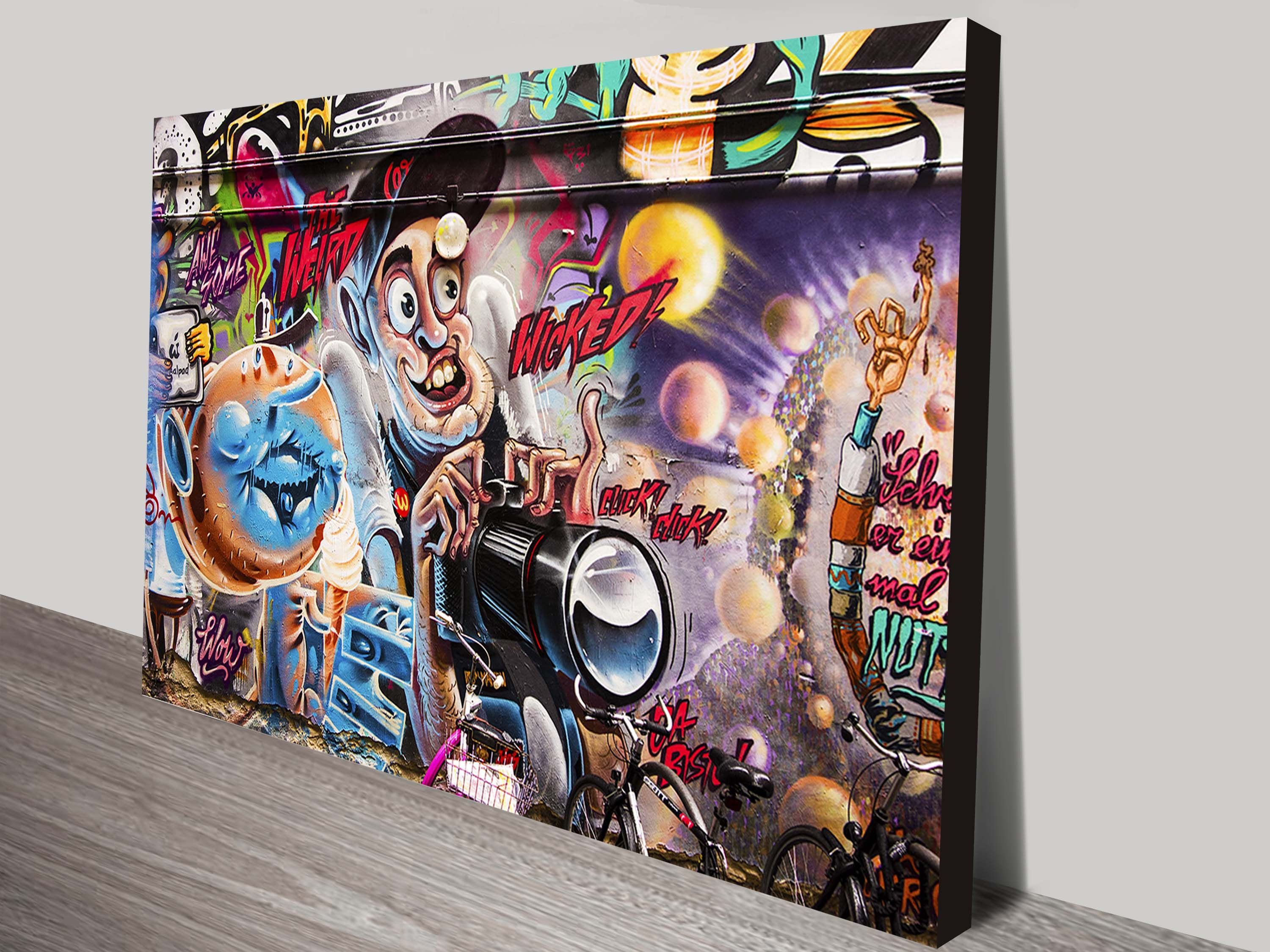 This is another of our graffiti canvas print wall art designs this fun street art